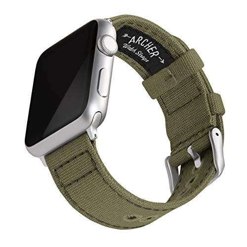 Archer Watch Straps - Canvas-Uhrenarmband für Apple Watch (Blasses Olivgrün, Silber, 42/44mm)