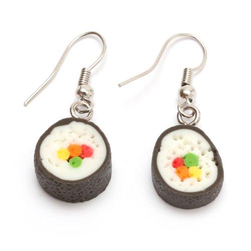 Idin Jewellery - Orecchini a forma di sushi roll- in miniatura, realizzati a mano in argilla polimerica