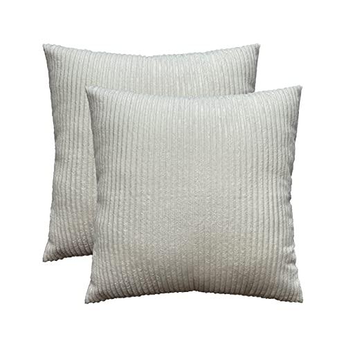 Houpoo 2er Set Kissenbezug Cord Gestreift Kissenhülle Quadratish Überwurf für Zierkissen Wohnzimmer Dekoration, Weiß, 50 x 50 cm
