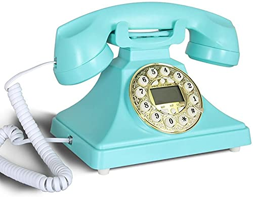 CJDM Teléfono con Cable Teléfono Retro Oficina Europea Hogar Teléfono Fijo Antiguo Teléfono Antiguo Identificador de Llamadas de Metal Teléfono con Cable Teléfono inalámbrico con retroiluminación