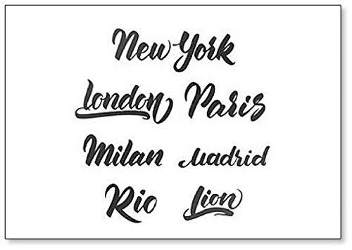 Juego de plantillas de letras para emblema de ciudades, imán para nevera