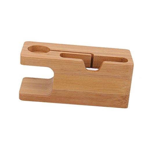 balikha Muelle Combinado de Bambú del Tenedor del Soporte de La Estación de Carga de La Tabla para El Watch/El iPhone