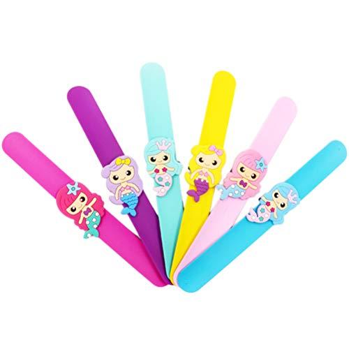 YeahiBaby 6 Stücke Meerjungfrau Snap Armband aus Silikon Slap Band Klatscharmband Schnapparmband Kinder Jungen Mädchen Weihnachten Geburtstag Party Geschenke (Zufällige Farbe)