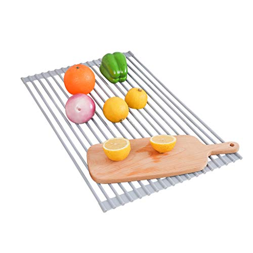 GWM Panier à égoutter Pliable, Égouttoir à égouttement, Égouttoir à Assiettes Polyvalent, pour Plats, Bols, légumes, Fruits, 52 × 33 cm (Gris) (Taille : Round Rod)