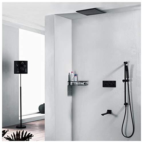 HMQQ wastafelarmatuur voor badkamer, zwart vak in de wand, complete set van koper met warme en koude regen, drie klassieke functies, 300 mm