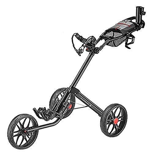 CaddyTek 3 Wheel Golf Push Cart - Deluxe Quad-Fold Compact Push & Pull Folding Caddy Trolley - Caddylite 15.3 V2