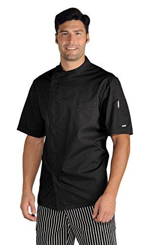 Isacco - Chaqueta de cocina modelo Pretoria negro, S, 65% poliéster, 35% algodón, media manga