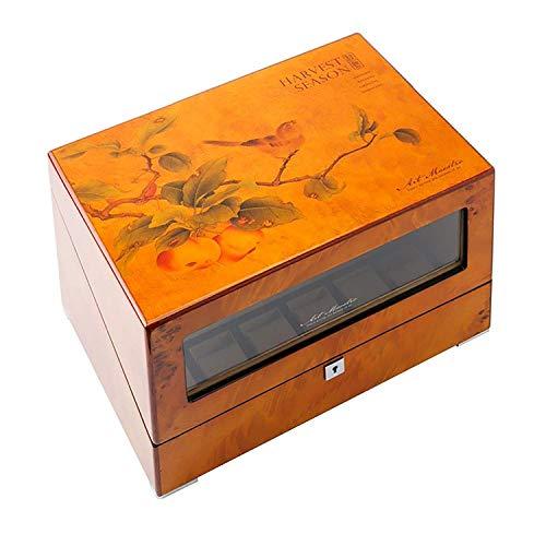 GLXLSBZ Enrolladores de Relojes, Caja automática para Relojes 4,4 + 6 Batería de Madera Estuches para Relojes silenciosos Cajas para Relojes Enrolladores para exhibición de Almacenamiento Marrón