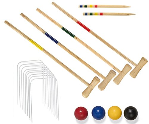 4 Player Wooden Croquet Set Traditional Outdoor Family Garden Game