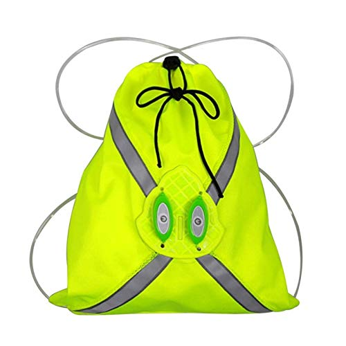 Wireless LED LED de la bici de Seguridad Bolsa de luz de señal chaleco reflectante de bicicletas Advertencia chaleco Noche deporte al aire libre Mochila (Color : Green)