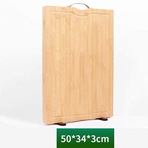 Keuken snijplank houten snijplank for huishoudelijke rechthoekige metalen handvat Bevestig een stand met 50 * 34 * 3 cm Verschillende maten A chopping board (Color : D)