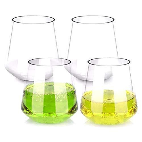 WxberG Copas de vino sin tallo, vasos de vino de plástico inastillables (juego de 4), vasos de vino tinto transparente irrompible, reutilizable taza transparente para whisky, licor y cócteles