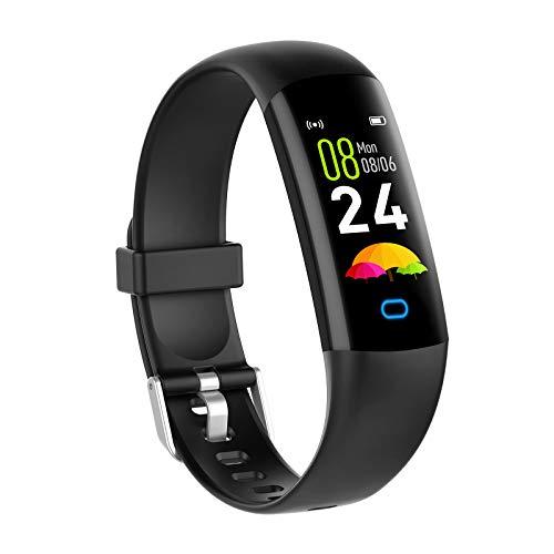 YoYoFit - Rastreador de fitness para niños con pulsómetro presión arterial, reloj fitness, resistente al agua IP68, podómetro, monitor sueño, rastreador actividad mujeres, hombres y niños, Negro