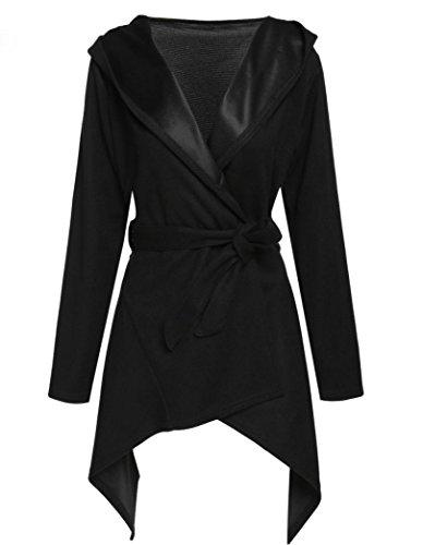 MIRRAY Damen Slim Long Hoodede Mantel Jacke Outwear Strickjacke Mantel