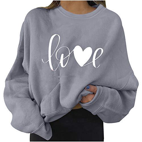VVIA Sweatshirt Damen Love Buchstaben Langarm Rundhals Pullover Bauchfrei Langarmshirt Pulli Winter Herbst Kurz Oberteile Crop Top