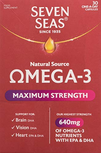 Seven Seas Natural Source Omega-3 Maximum Strength 1105mg Fish Oil 30 One-A-Day Capsules
