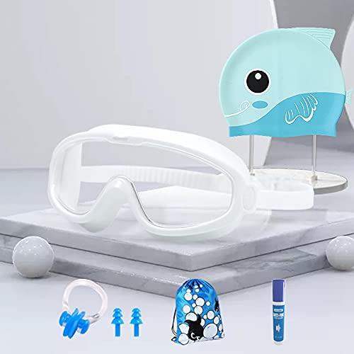 Gafas de natación de seis piezas para niños de gran marco pueden ser impermeables y antivaho HD en caja para niños y niñas. Traje de seis piezas blanco transparente