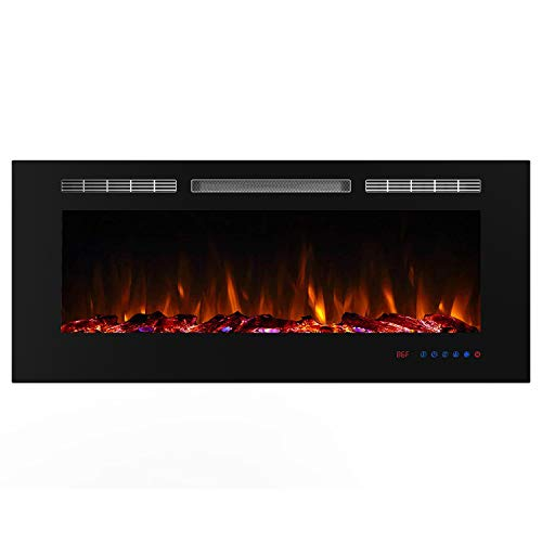 Valuxhome Electric Fireplace, 50 Inches Fireplace, Recessed Fireplaces for Living Room Electric with Remote, Overheating Protection, Logset and Crystal, Touch Screen, 1500W/750W, Black