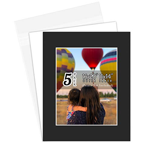 Golden State Art, 16x20 Picture Mats Mattes with White Core Bevel Cut for 11x14 Photo + Backing + Bags (Black, 5 Pack)
