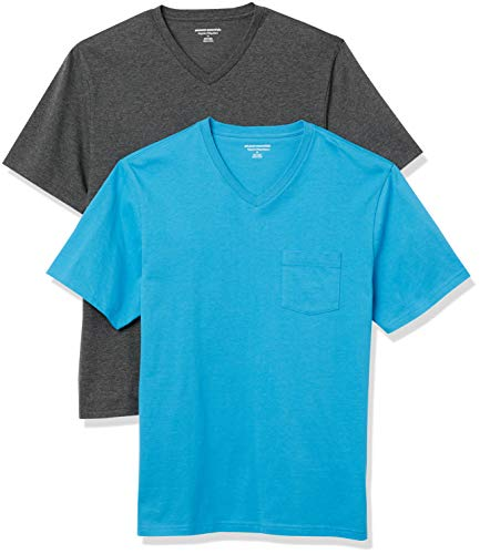 Amazon Essentials Men's 2-Pack Regular-Fit Short-Sleeve V-Neck Pocket T-Shirt, Blue/Charcoal...