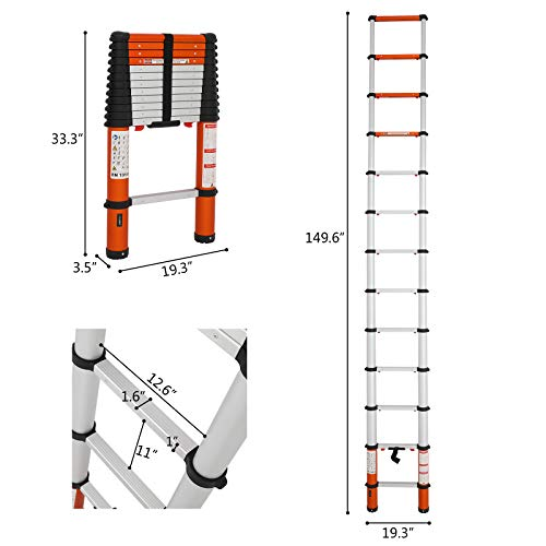 Luisladders Oshion Aluminum Telescoping Telescopic Extension Ladder 330 Pound Capacity