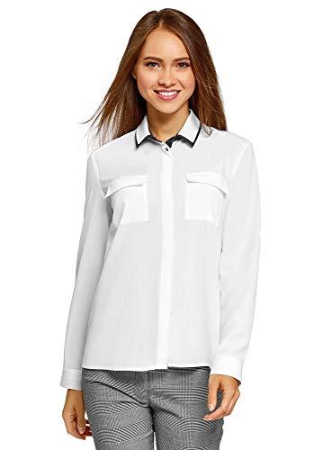 oodji Ultra Damen Lockere Bluse aus Fließendem Stoff, Weiß, DE 34 / EU 36 / XS
