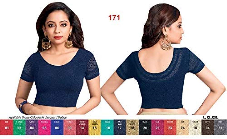 Navy bluee Ready to wear Stretchable Lycra Readymade Saree Blouse Sari Choli Crop Top (L,XL,XXL) 171
