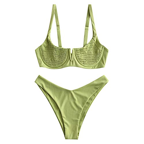 ZAFUL Women's Smocked Tie Shoulder Bikini Set Shirred Underwire Two Pieces Swimsuit (M, Green-Ribbed)