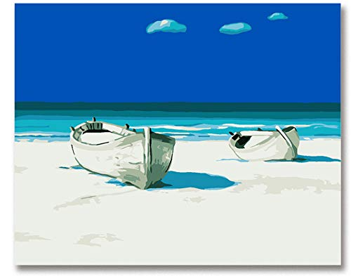 Pintura Por Números Pintura De Arte Por Número Cielo Azul Barco Verano Playa...