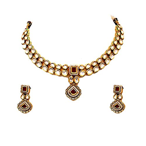 JewelryGift Fascinating Necklace with Drop Earrings Gold Plated Kundan, Ruby, Cubic Zircon Wedding Ethnic Modern Fashion Jewellery Set for Girls Women