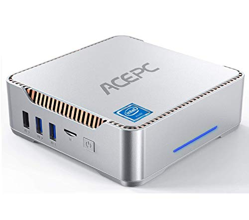 ACEPC Mini-PC Windows 10 Pro, 4 GB DDR3+64 GB eMMC Intel Celeron N3350 (bis zu 2,4 GHz) Micro-Desktop-Computer, Unterstützung von 4K HD, HDMI/VGA-Port-3-Display, Dual-WLAN, Gigabit-Ethernet, BT 4.2