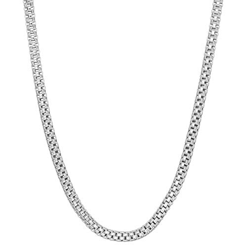 .925 Sterling Silver Rhodium Plated Italian Inspired 2mm Popcorn Unisex Link Chain Necklace For Women and Men Size 16-30 (16)