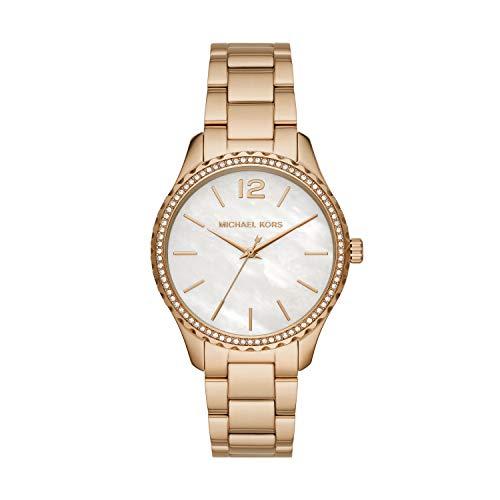 Michael Kors Women's Layton Quartz Watch with Stainless Steel Strap, Gold, 18 (Model: MK6870)