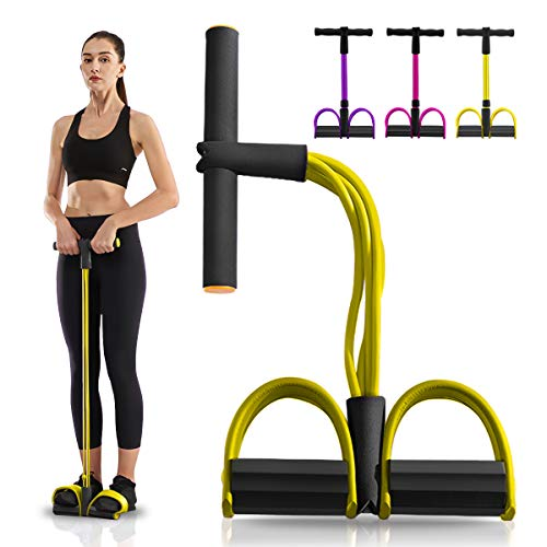gracosy Resistance Bands, Workout Exercise Bands Natural Latex Foot Pedal Elastic Pull Rope 4 Tube Stretch Bands for Physical Therapy Yoga Training Grey Yellow F