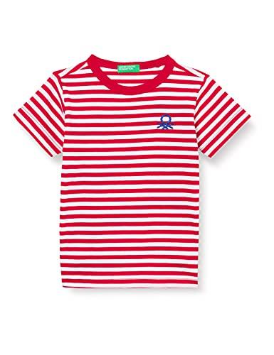 United Colors of Benetton T-Shirt 3nq6c14je Camiseta, Rayas Rojas y Blancas 906, 2 Años para Bebés