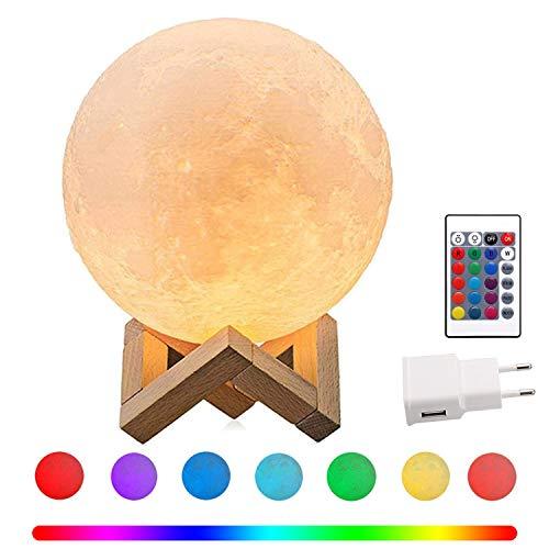 CPROSP LED Mond Lampe mit Netzteil 15cm 3D Mondlicht Touch Sensor, 16 Farbe RGB Fernbedienung Auswählbar und dimmbar Nachtlicht, USB Wiederaufladbar als Deko Geschenke, PLA PVC Material