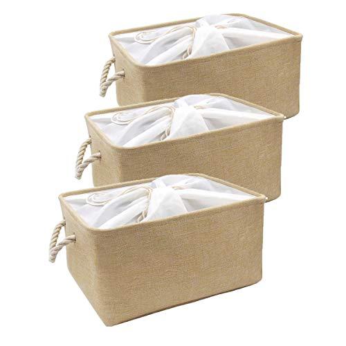 MANGATA Cajas de Almacenamiento de Tela, Juego de 3 Cestas de Almacenamiento plegables Súper Grandes para estantes, armario, (Beige, XXL)