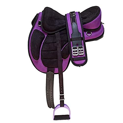 Wonder Wish - Freemax - Silla de montar a caballo de uso general, tamaño de 30,4 a 45,7 cm, morado, 18 Inches Seat