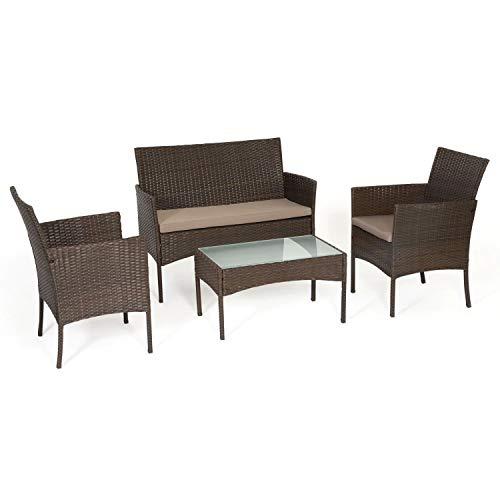 BENEFFITO Tulum - Vimini mobili da Giardino a 4 posti: 1 Divano, 2 poltrone, 1 tavolino - Idrorepellente e Cuscini Removibili con Zip - Marrone/Taupe