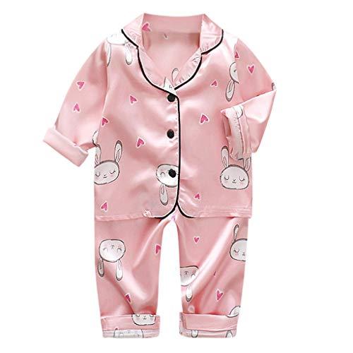 Moneycom❤Toddler Kids Baby Boys Girls Cartoon Animal Tops + Pants Pyjamas Tenues de Nuit Rose(4-5 Ans)