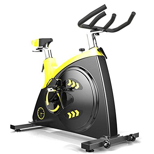 Spinning Bike Bicicleta De Ejercicios para El Gimnasio De Casa, Bicicleta Estacionaria Interior con Tracción En El Cinturón Silencioso, Bicicleta De Spin para Adultos (Color : Black+Yellow)