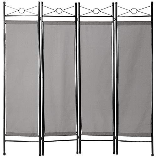 TecTake 403555 4-TLG. Raumteiler Trennwand Paravent spanische Wand, 180x160cm, grau