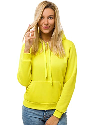 OZONEE Damen Kapuzenpullover Sweatjacke Sweatshirt Farbvarianten Kapuzenjacke Kapuzenpulli Langarm Kapuze Hoodie Sport Style Casual Fitness Basic Training 777/2901B GELB-NEON S