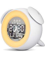 Reloj Despertador Digital, Wake up Light LED Luz Despertador con Función Snooze, Simulación de Amanecer y Atardece, 2 Despertadores, 25 Sonidos de Naturales (Blanco)