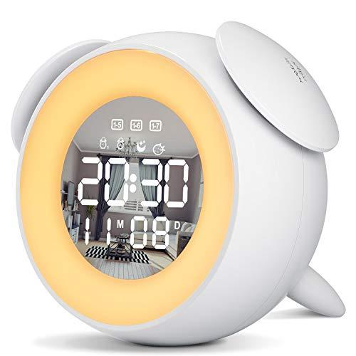 Xins-Yonha Wake Up Light, Sveglia Digitale Multifunzionale da Comodino, Sveglia Luce con Snooze Touch Control, Doppi Allarmi e 25 Suoni Naturali Per Bambini Adulto (Bianco)