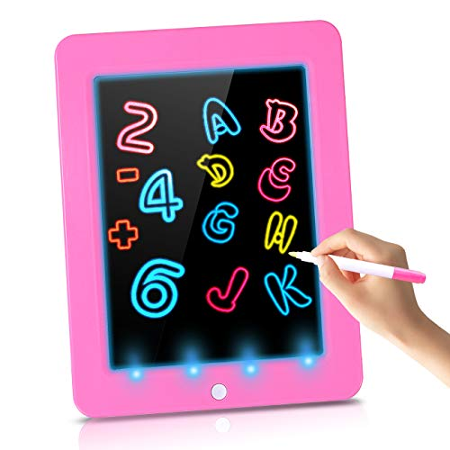 Glow Light-Up Magic Drawing Pad for Kids Age 3-8, Luminous Drawing Dry Erase Board for Little Girls Age 3-8 Year Old Girls Birthday Gifts, Track Writing Board for Kids Educational Toys 2-4 year old