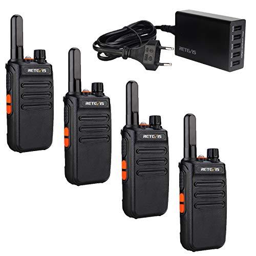 Retevis RB635 Mini Walkie Talkie con Cargador de 5 Puertos, Transceptor de Mano Portátil PMR446 con LED Grande, Radio USB Recargable de 2 Vías para Familia, Hotel, Bares(Negro, 4 Piezas)