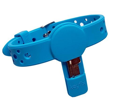 keyfix Schlüsselarmband S, Fitness Schlüssel Armband für Garderoben -, Spind - und kleine Schlüssel, blau KF004