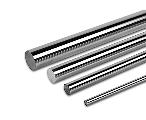 PDTech 8mm, 10mm, 12mm, and 20mm diameter bearing rod for linear motion, custom cut length, hardened steel chrome plated (8mm dia / 251mm-500mm)