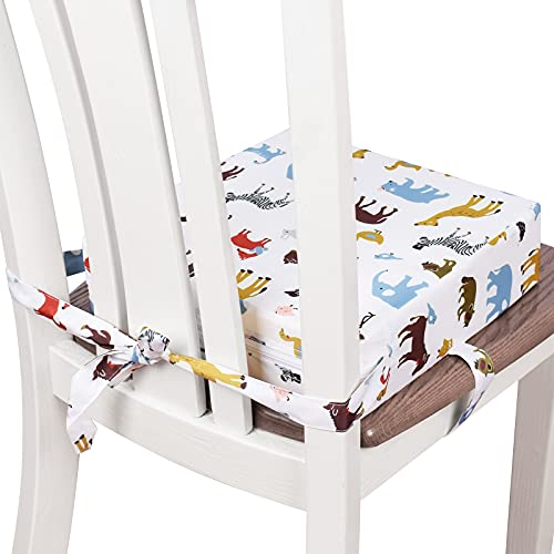 Toddler Booster Seat for Dining Table, Double Straps Washable Portable Booster Seat Dining Table, Increasing Cushion for Baby Kids (White)